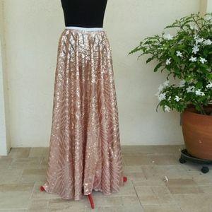 Beautiful Shear Lace Sequin Maxi Circle Skirt